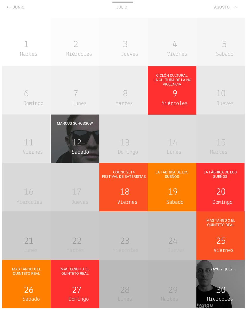 Nueva vista de calendario del rediseño de REDUTS