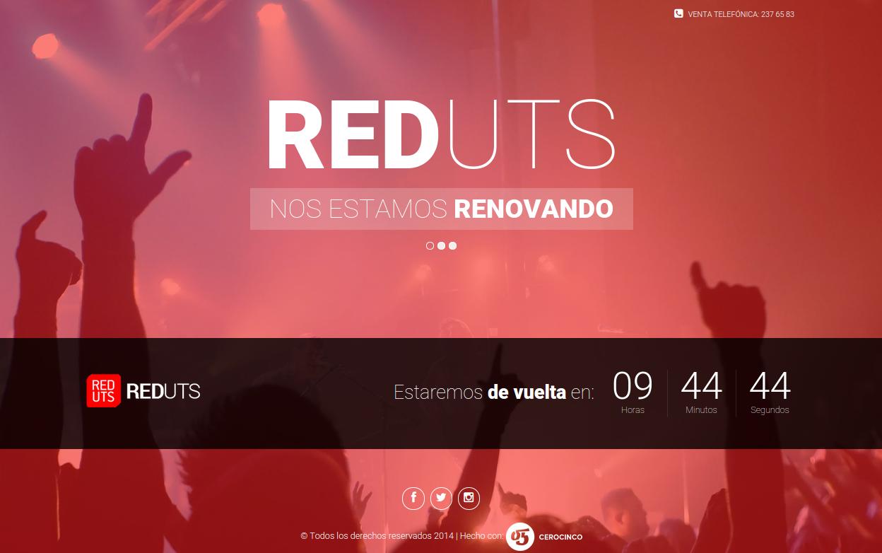Splash con cuenta regresiva para el día de lanzamiento del nuevo sitio de REDUTS.