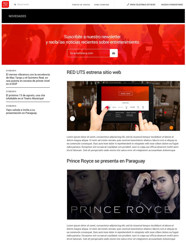Nueva seccion de novedades para mantener el contacto entre REDUTS, productores y fans.
